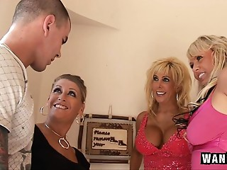 3 Lascivious Housewives Team fuck 1 Favourable Guy!
